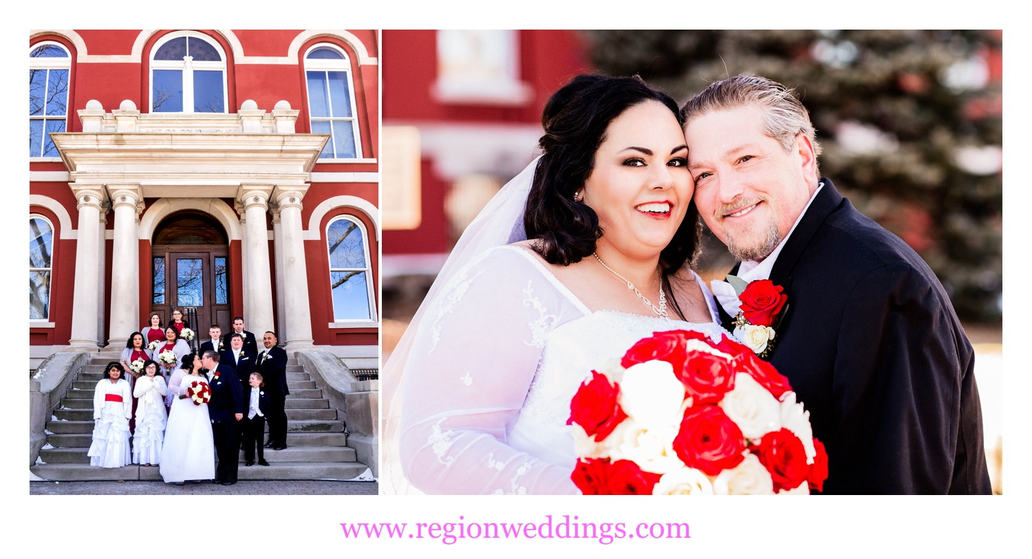 Winter wedding photos in downtown Crown Point.