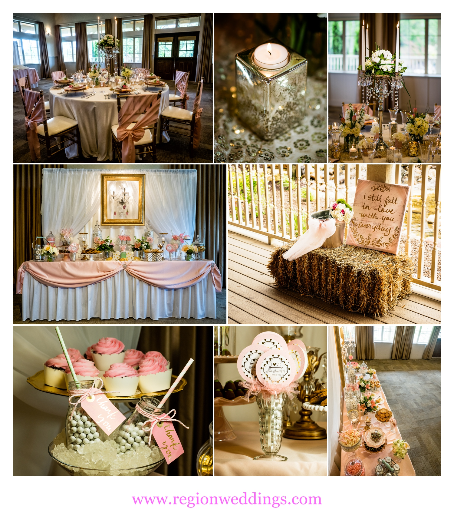 Gold wedding palette from How Sweet It Is Events at The Farmhouse At Fair Oaks Farms.