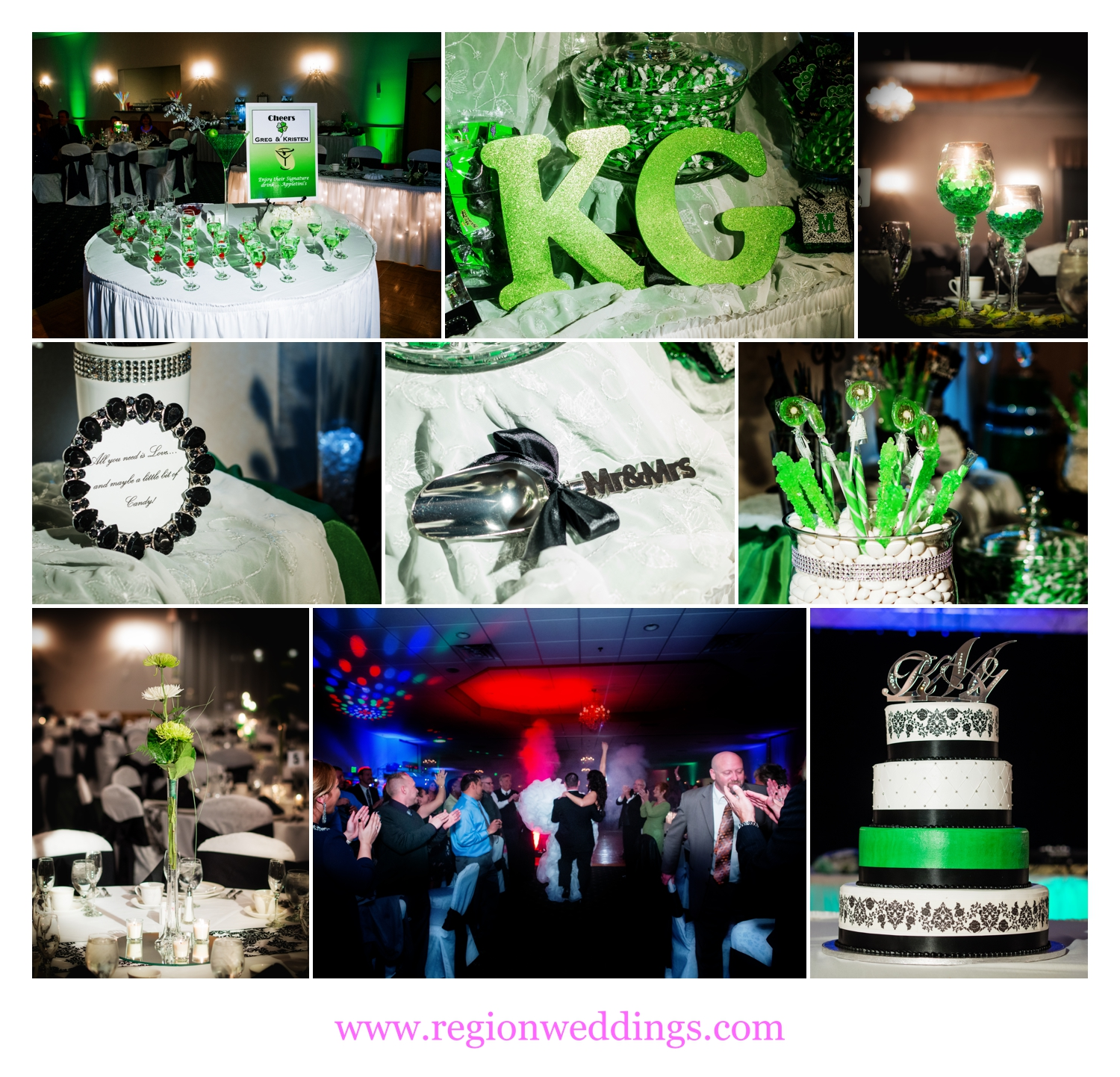 Green decorations to match the cake as the bride and groom enter the ballroom at The Patrician.