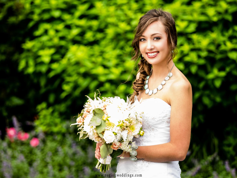 Beautiful bride at Sandy Pines Pavillion.