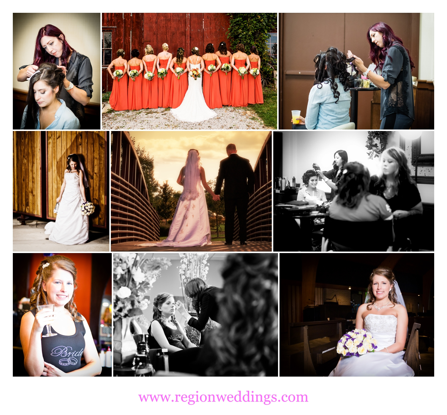 Shannon Grimmer of Fringe Salon preps brides and her bridesmaids on wedding day.