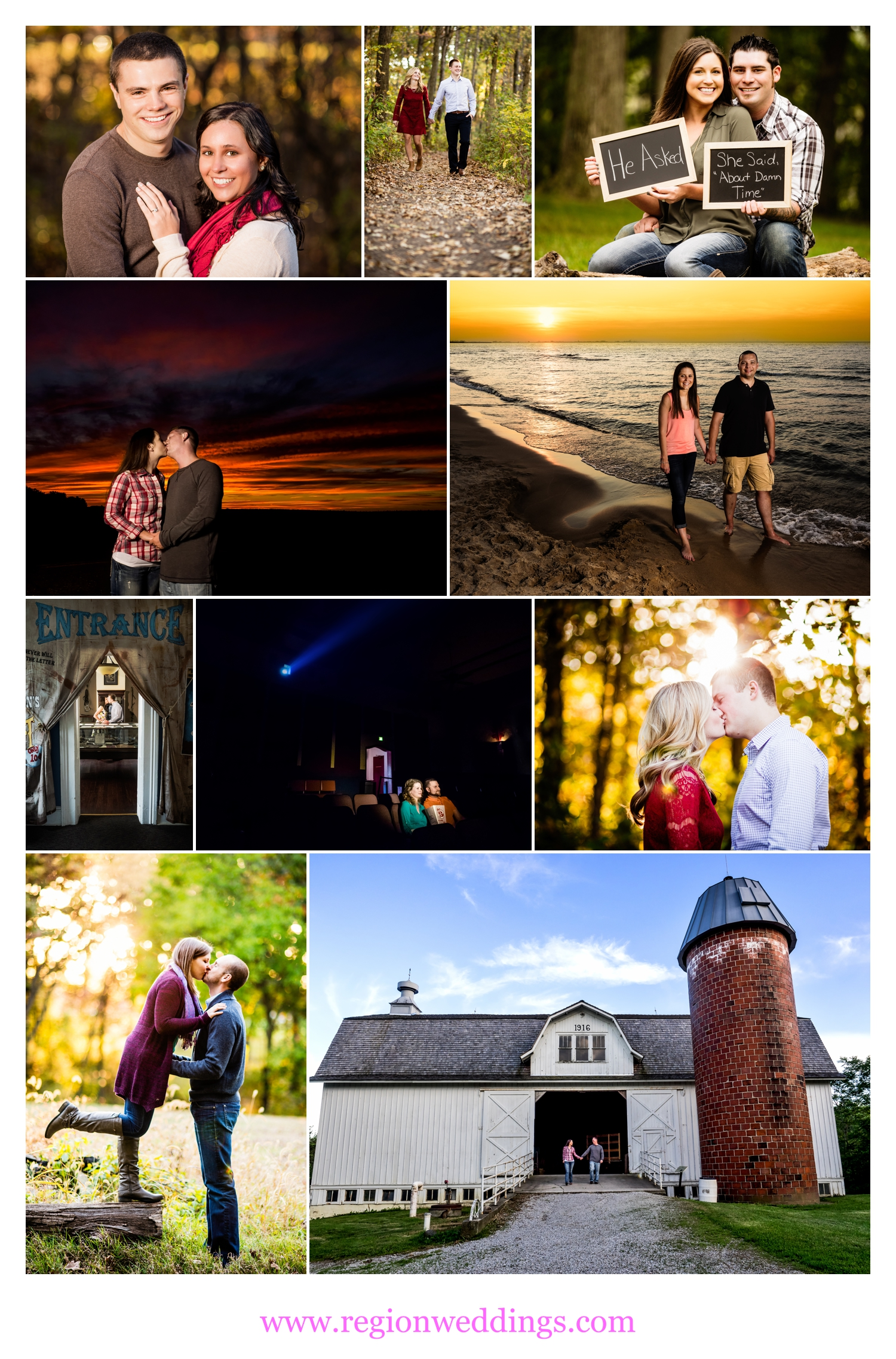 Engagement photos in various Northwest Indiana locations.
