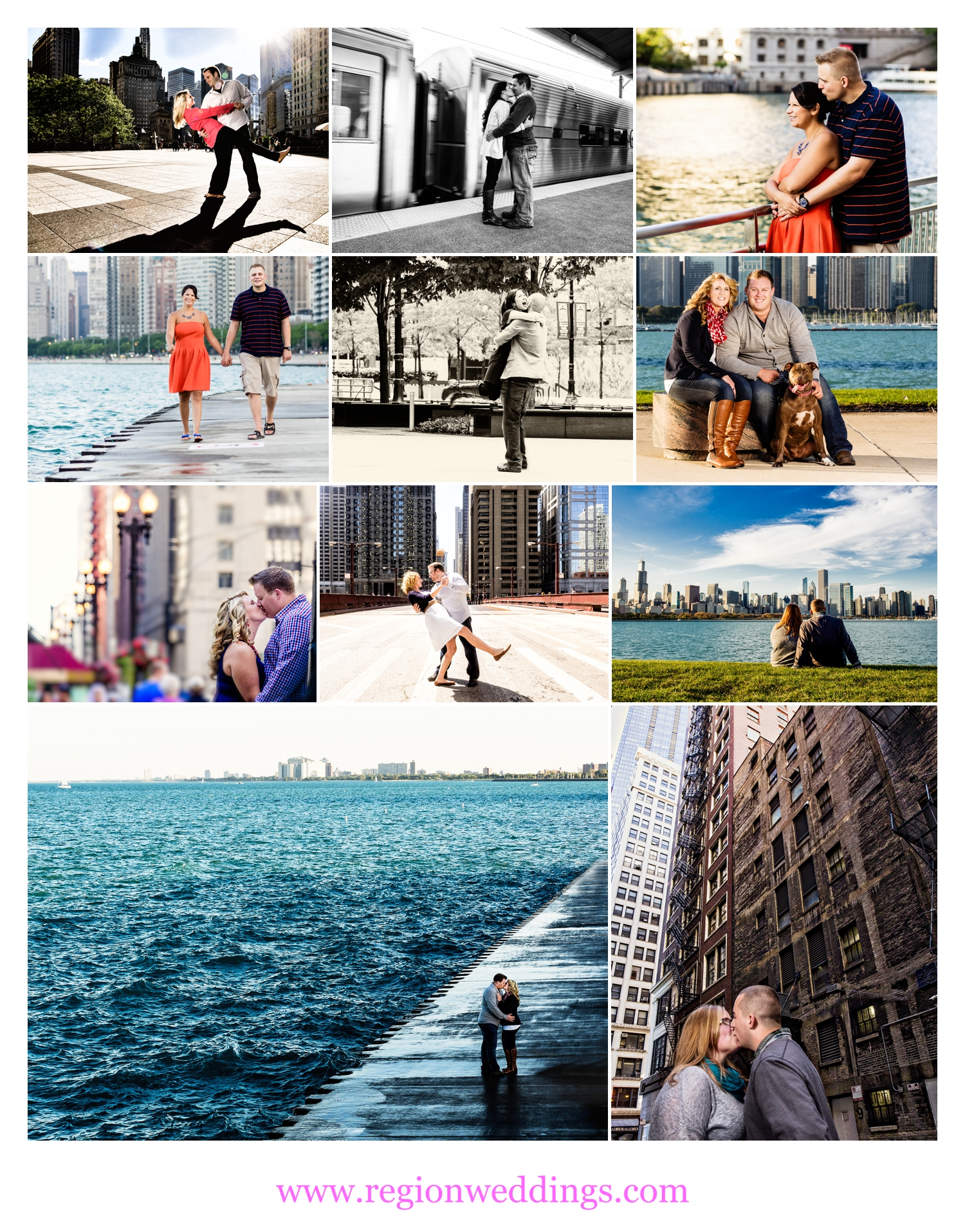 Various images of Chicago engagement sessions.