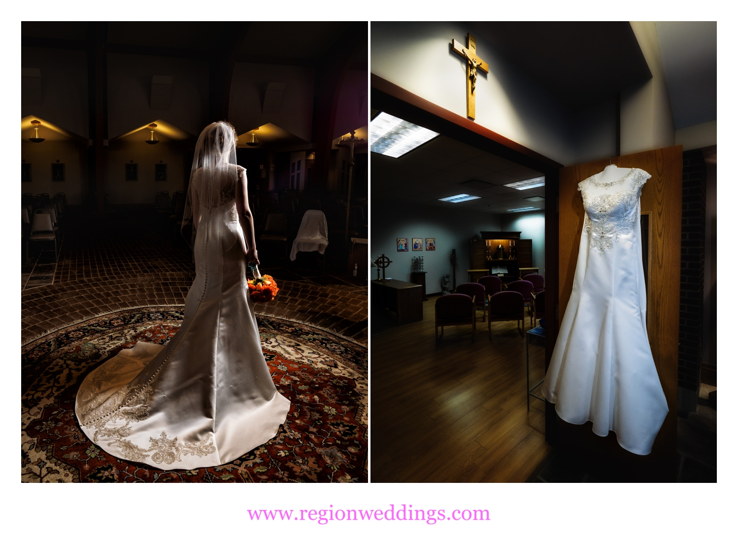 The bride shows off her dress at Holy Spirit Catholic Church.