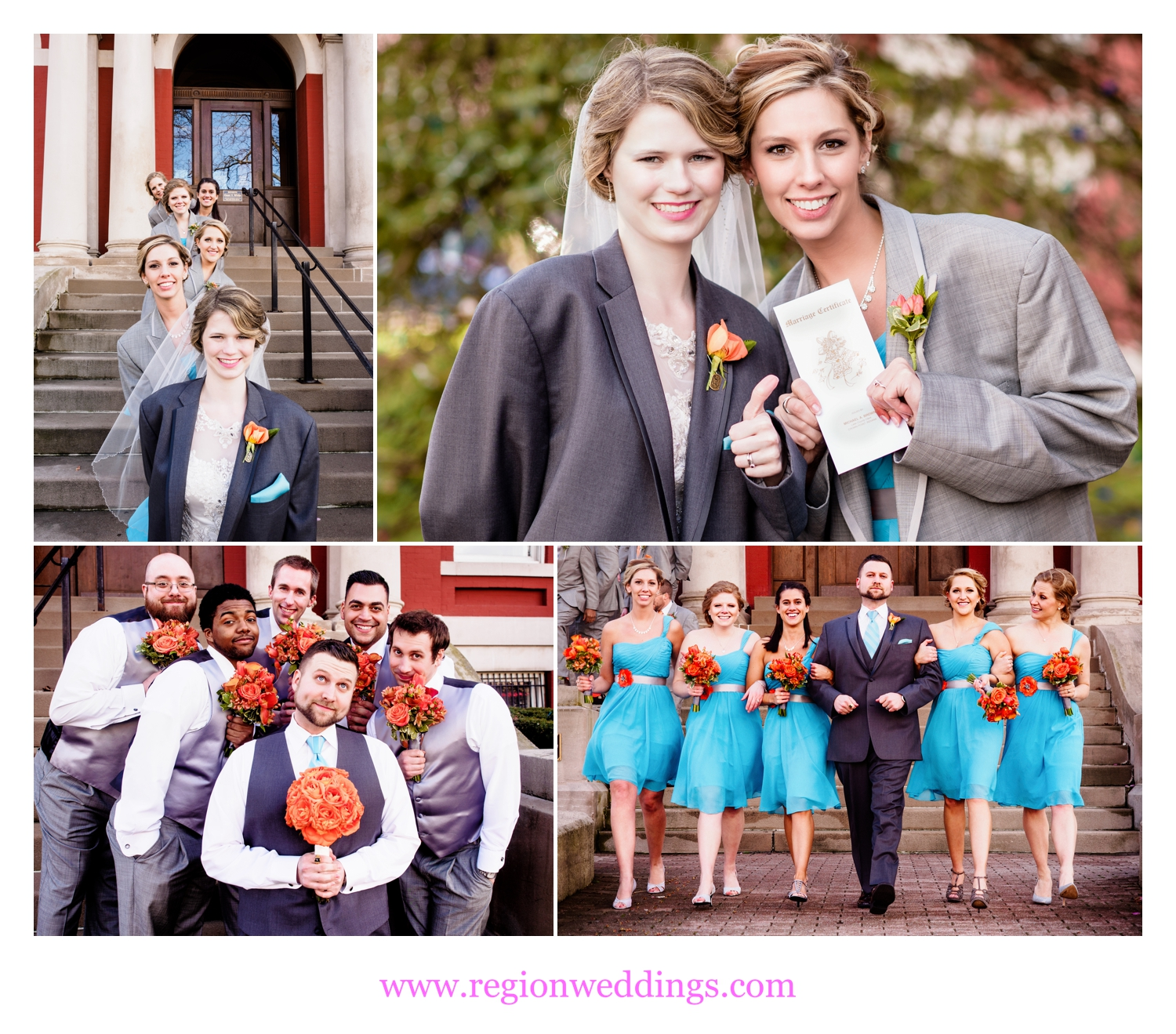 Fun wedding photos at the downtown Crown Point Square.