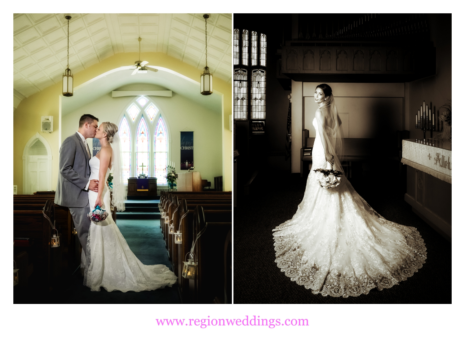 Artistic church wedding photos in Northwest Indiana and Chicago.
