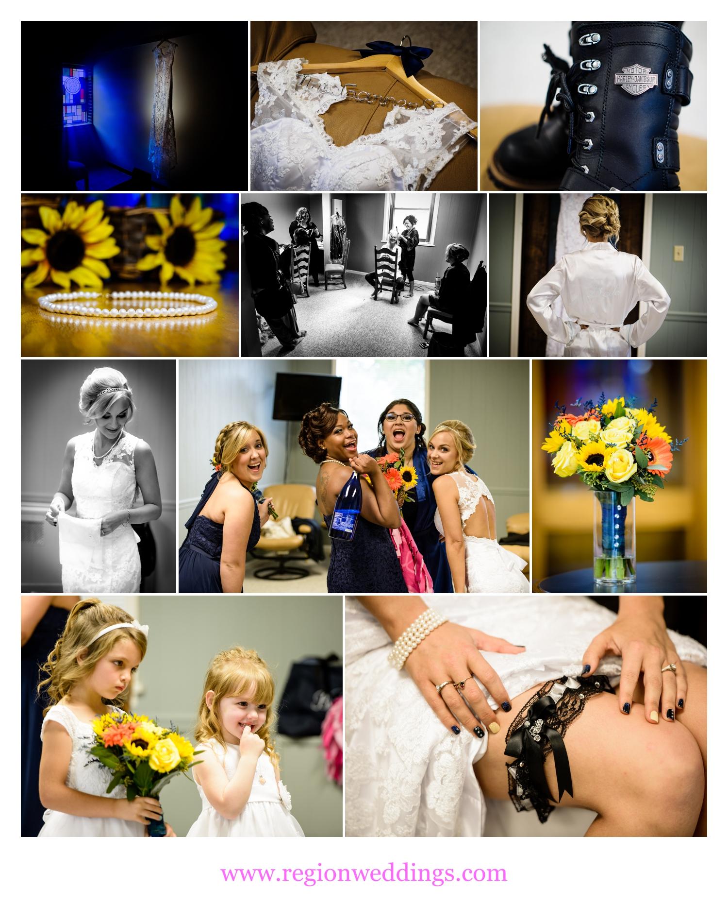 Getting ready on wedding day at Dyer United Methodist Church.