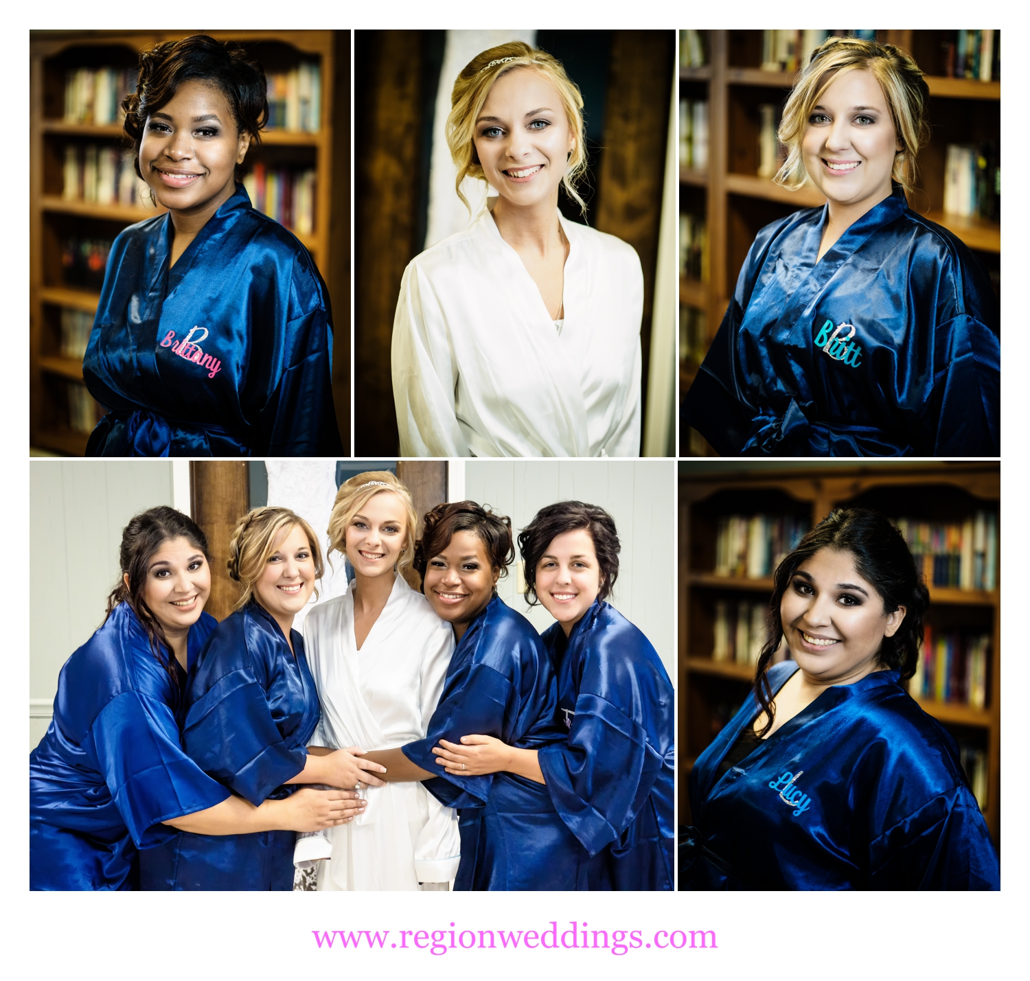 The bridesmaids in their blue robes during wedding day prep.