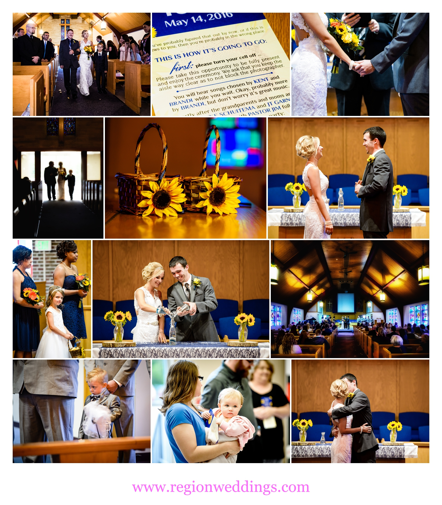 Wedding ceremony at Dyer United Methodist Church.