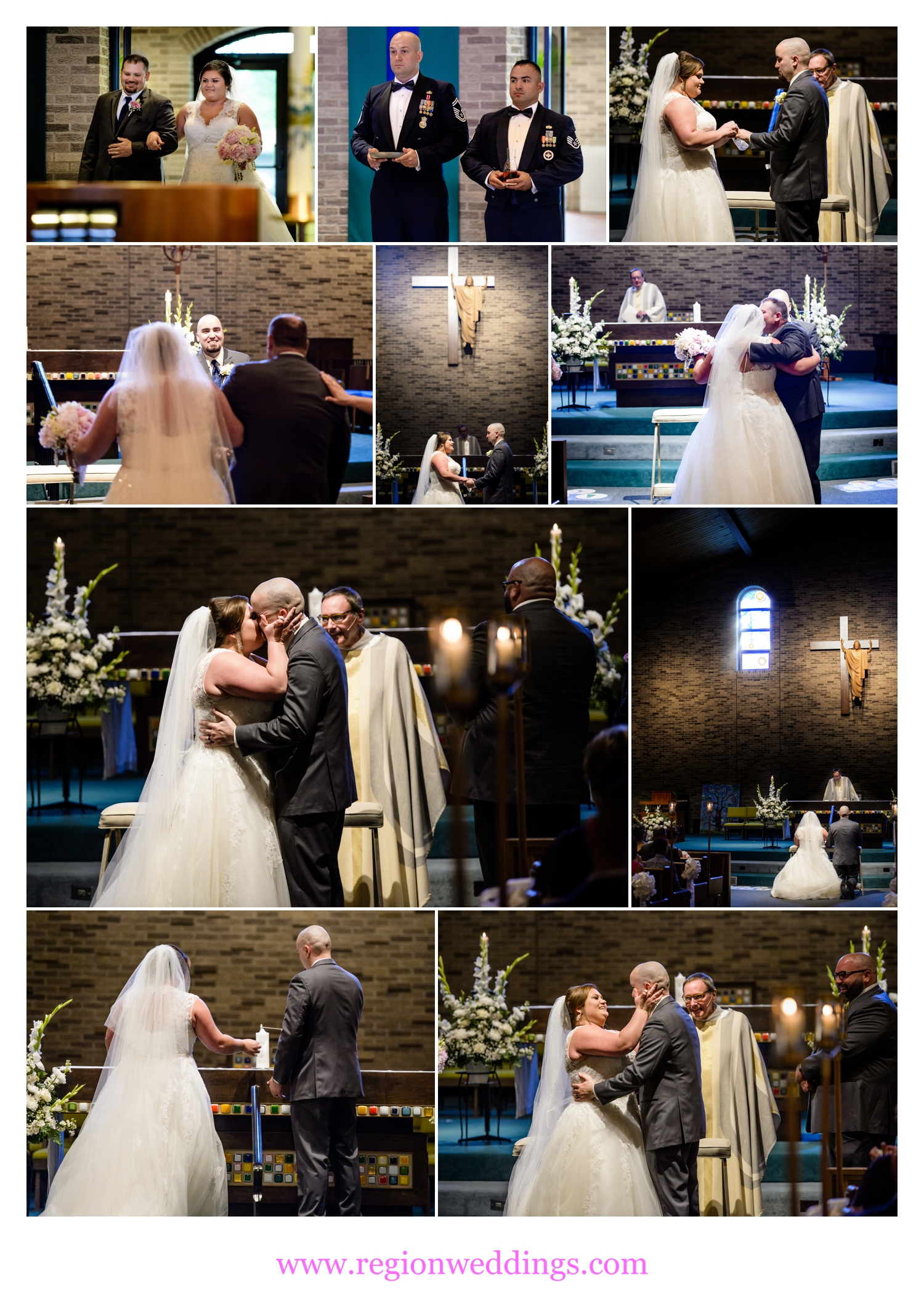 Wedding ceremony at St. Maria Goretti Church in Dyer, Indiana.