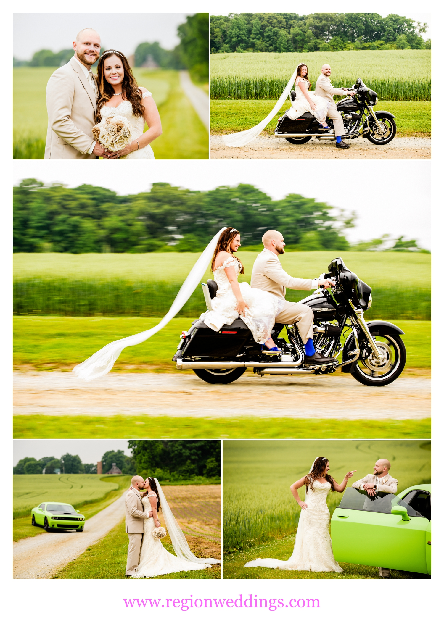 Fun wedding photos of Harley's, hot rods and a bride and groom.