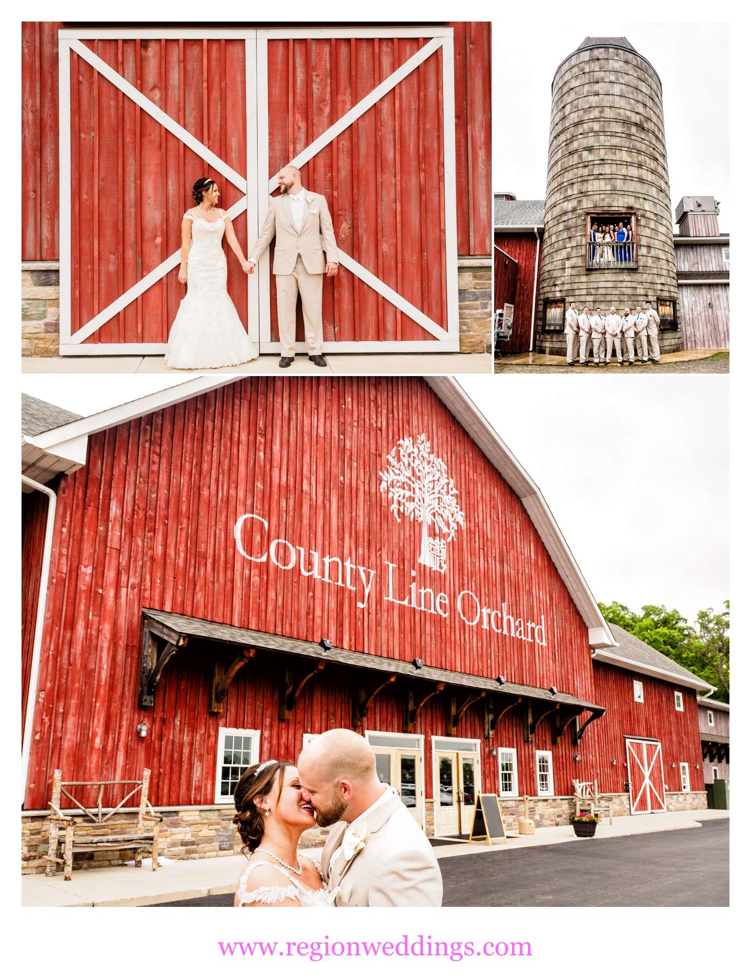 Fun wedding photos at County Line Orchard in Hobart, Indiana.