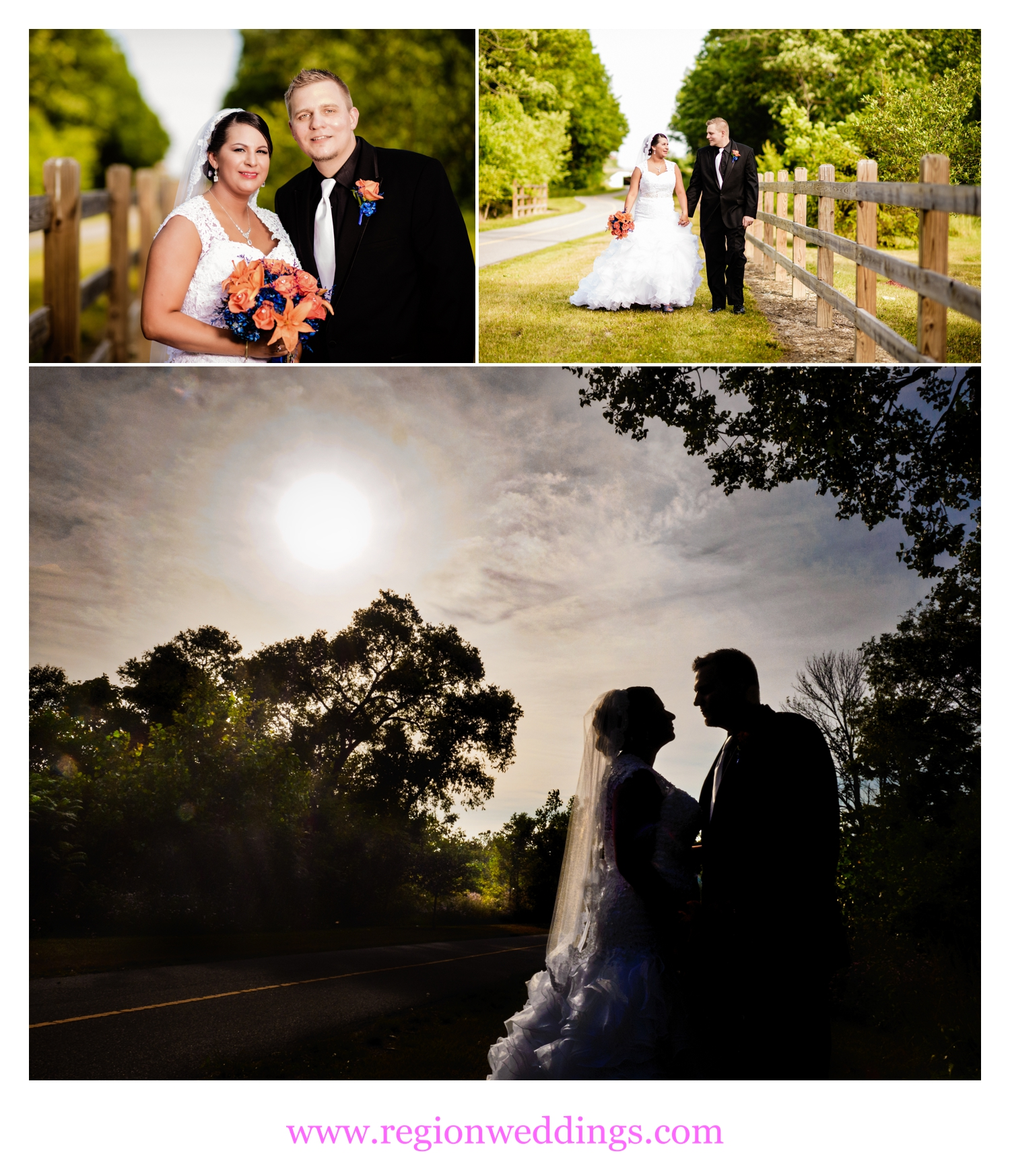 Romantic bride and groom summer wedding photos.