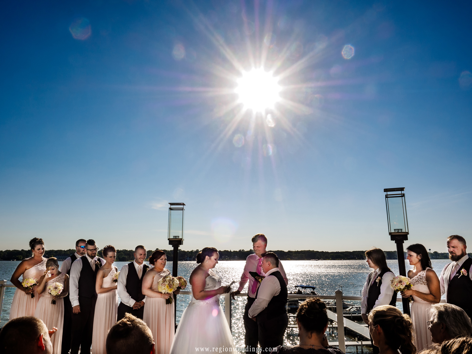 Outdoor wedding ceremony on the balcony at Lighthouse Restaurant.