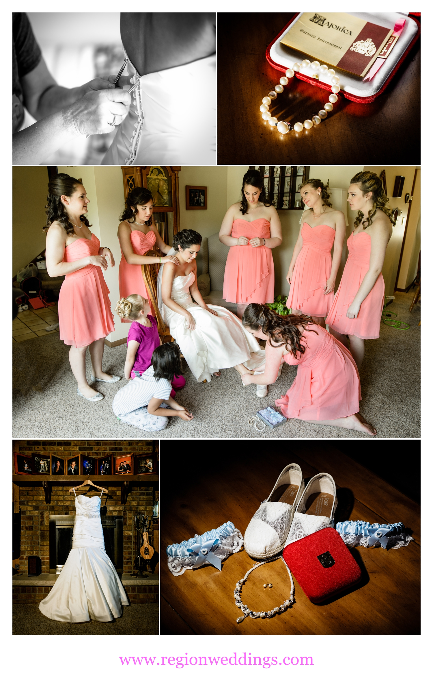 The bride and her bridesmaid's get ready at her parent's house in Schererville, Indiana.