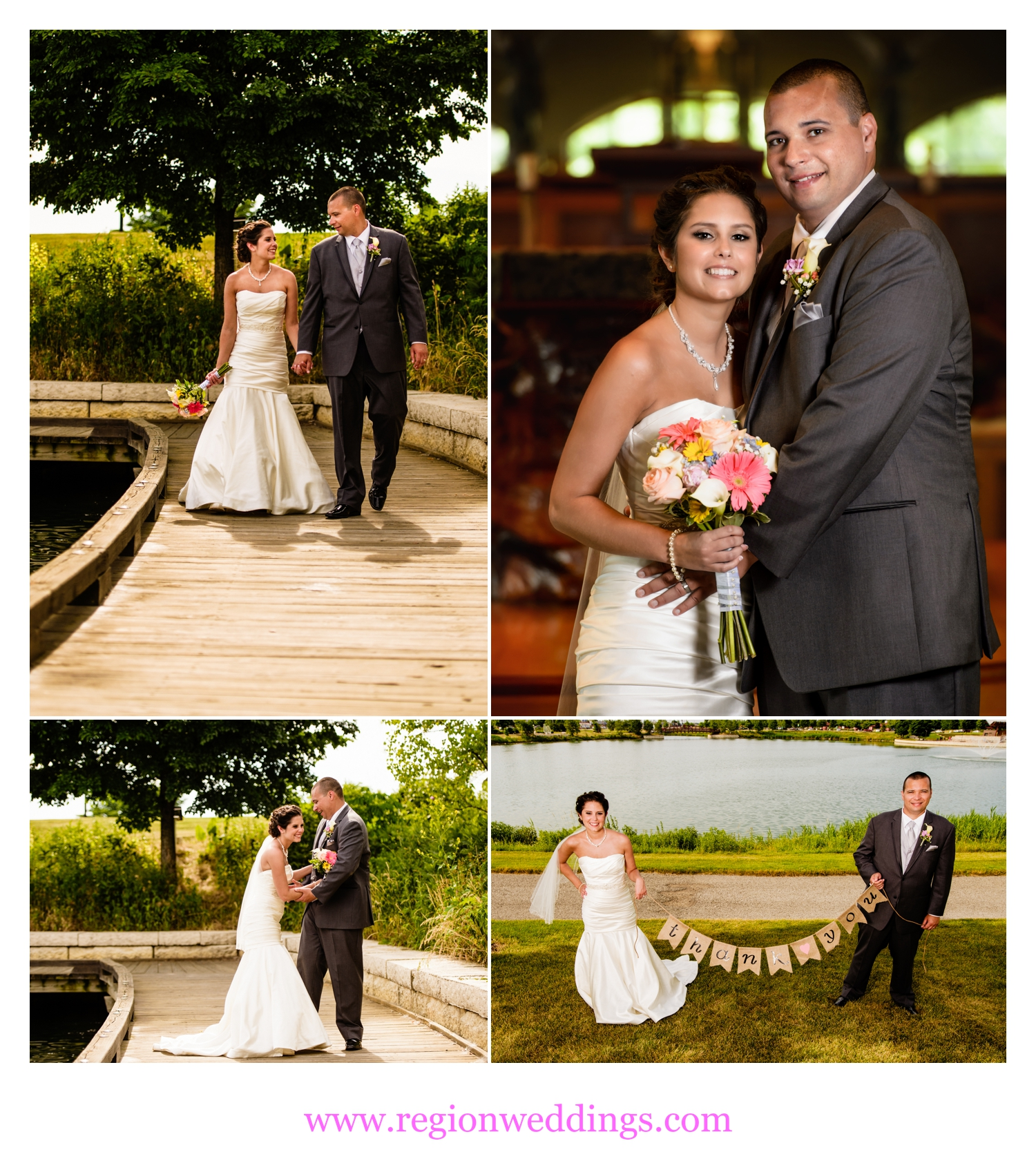 Bride and groom wedding photos at Centennial Park and St. Michael's Church.