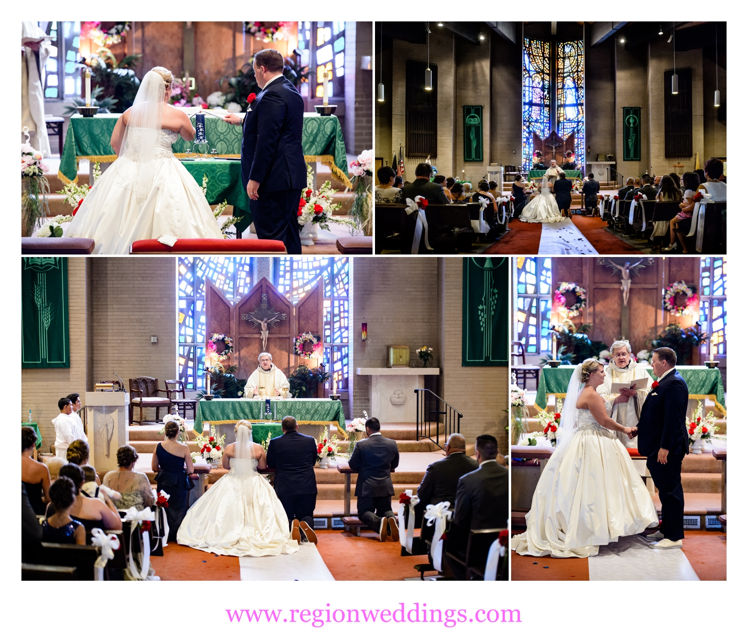 The bride and groom join together at Annunciata Church in Chicago, Illinois.