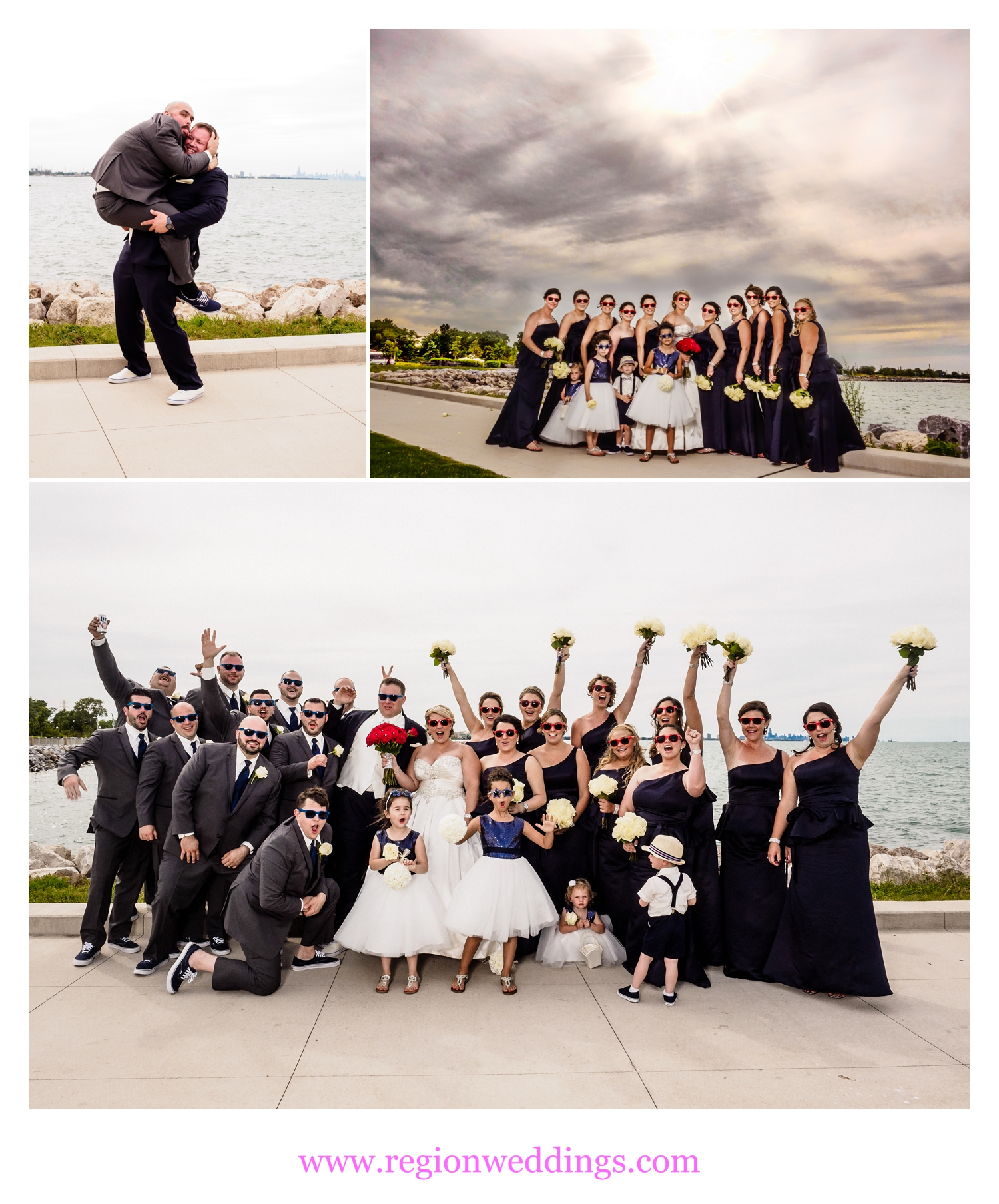 Wedding party photos at Whiting Lakefront.