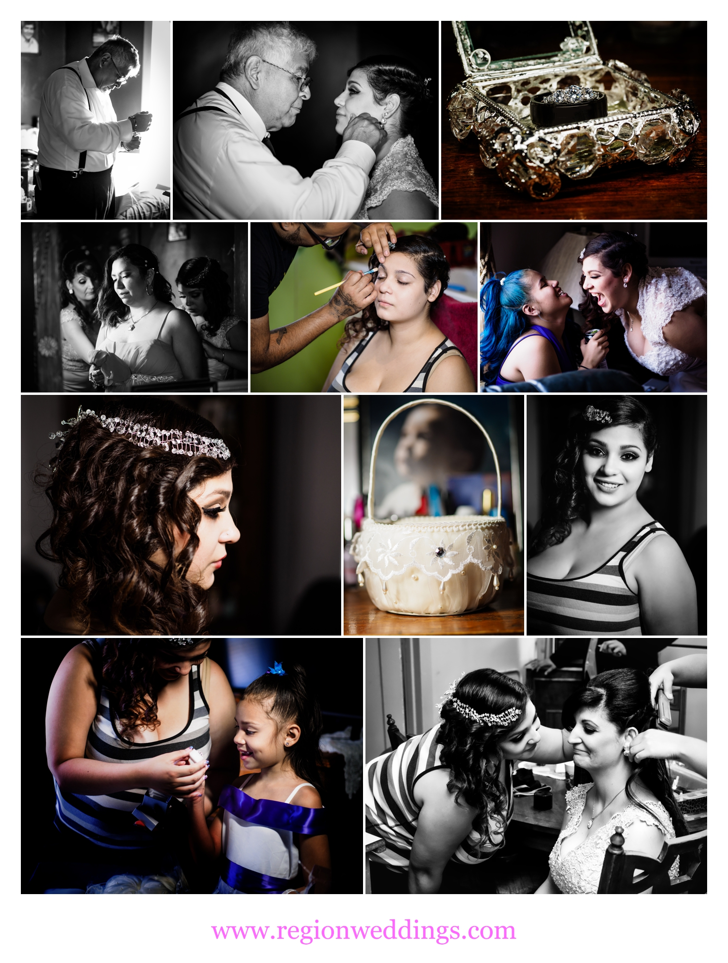 The bride gets ready for her big day surrounded by family.