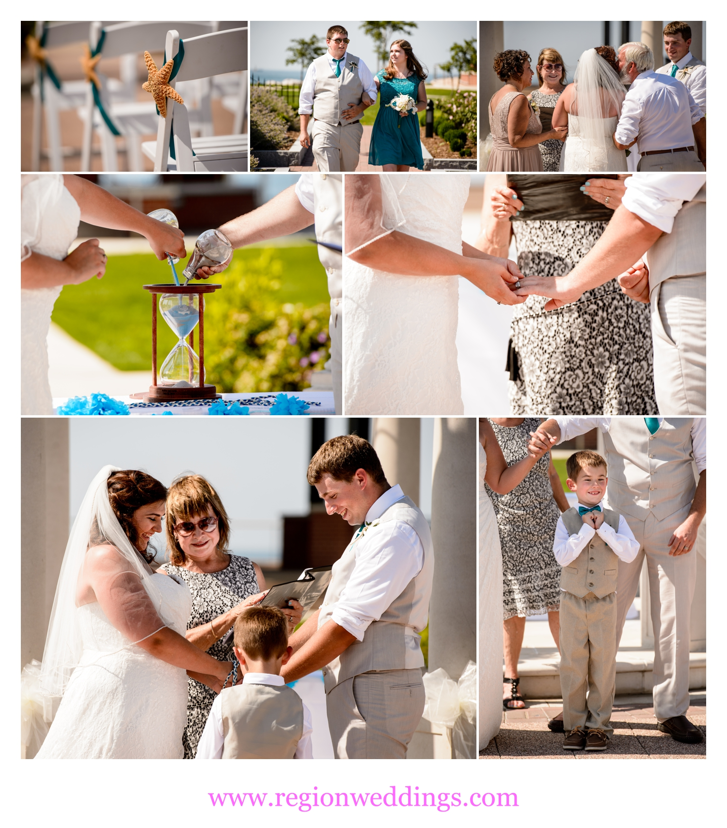 Outdoor wedding ceremony at Whiting Lakefront Park.