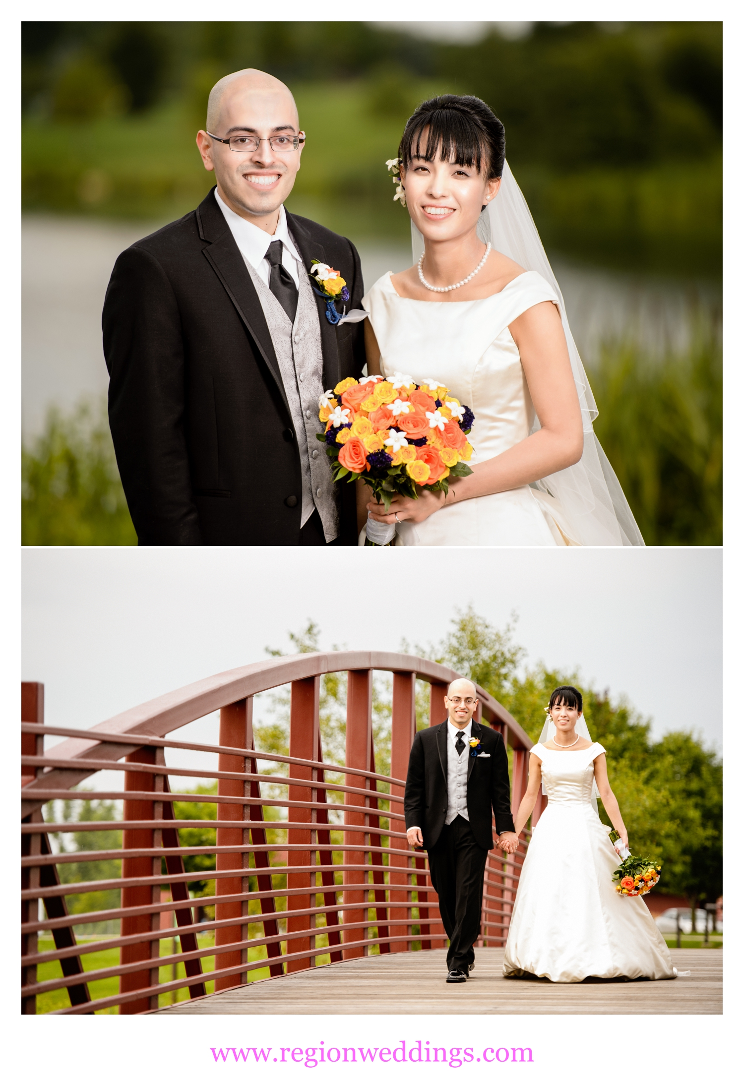 The bride and groom visit the bridges overlooking the lake at Centennial Park.