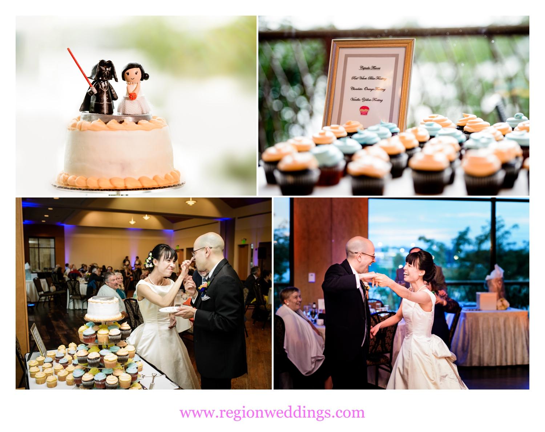 Star Wars cake topper at a wedding reception at Centennial Park.