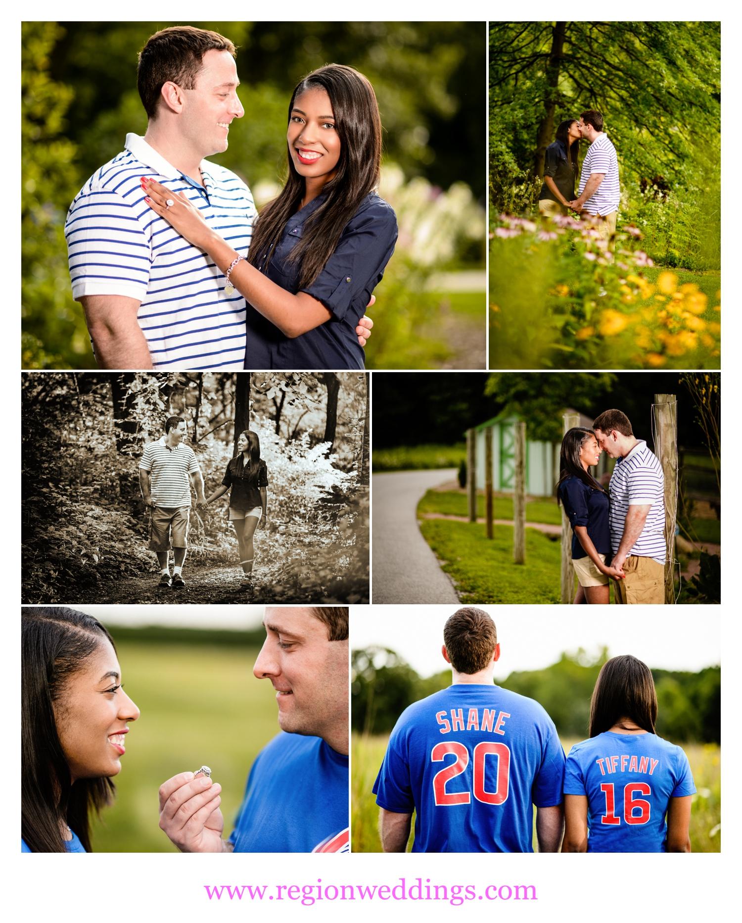 Cute engagement photos at Taltree Arboretum in Valparaiso, Indiana.