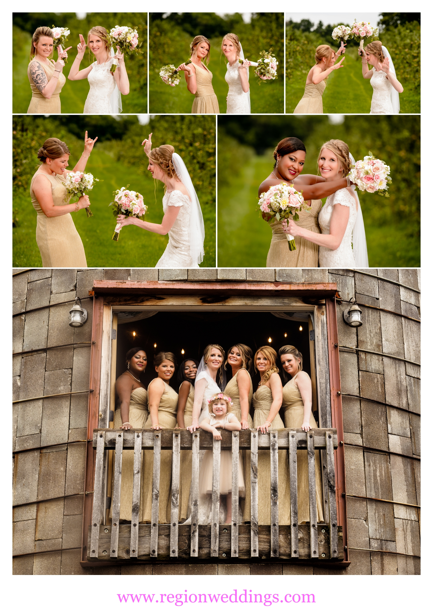 Fun bridesmaid photos at County Line Orchard.