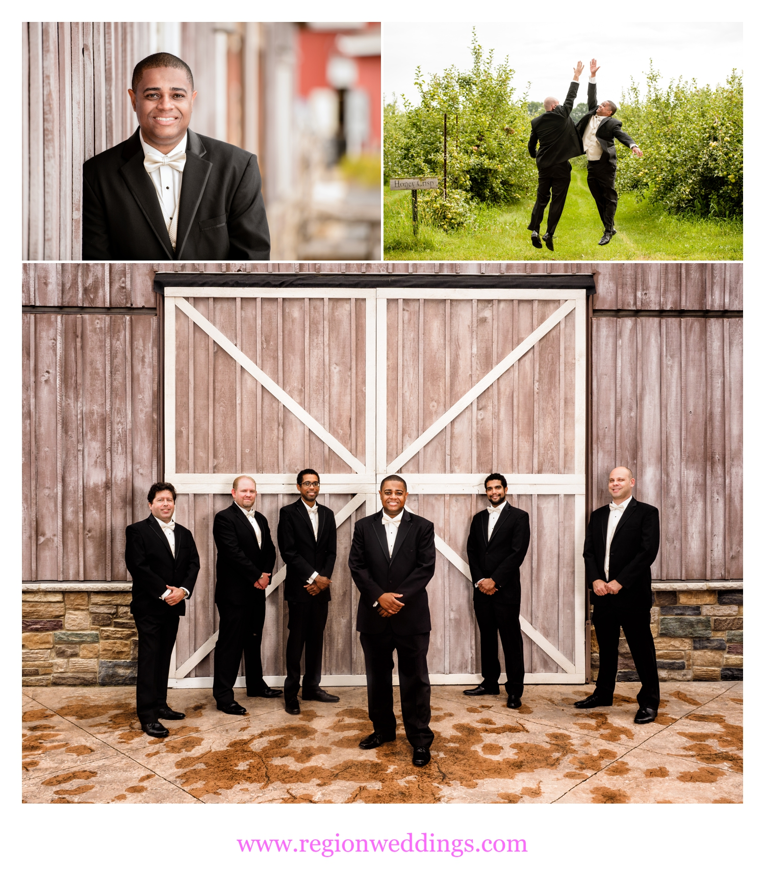 The groomsmen looking GQ at a barn wedding in Hobart, Indiana.