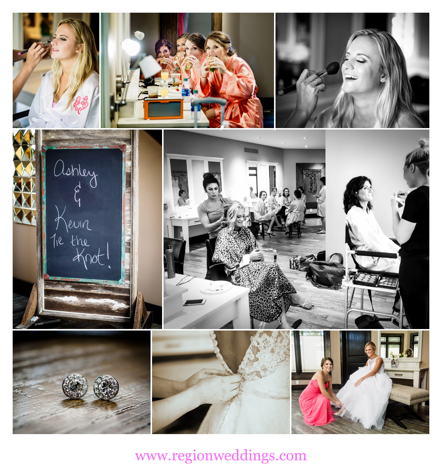 Bridal prep at Sandy Pines Pavilion bridal suite.