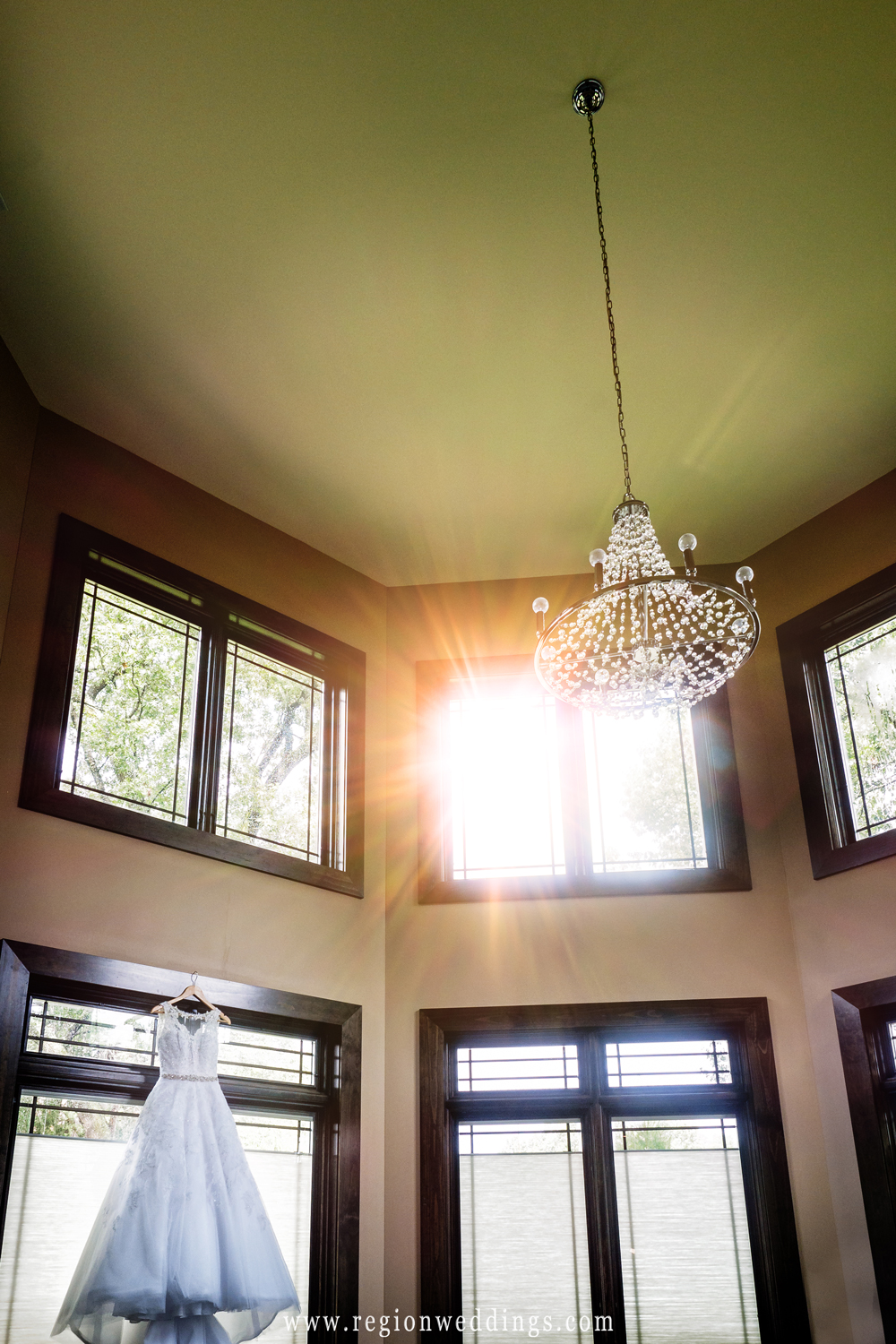 A wedding dress hangs inside the bridal suite at Sandy Pines.