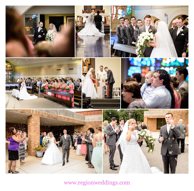 Wedding ceremony photos from St. Paul Catholic Church in Valparaiso, Indiana.