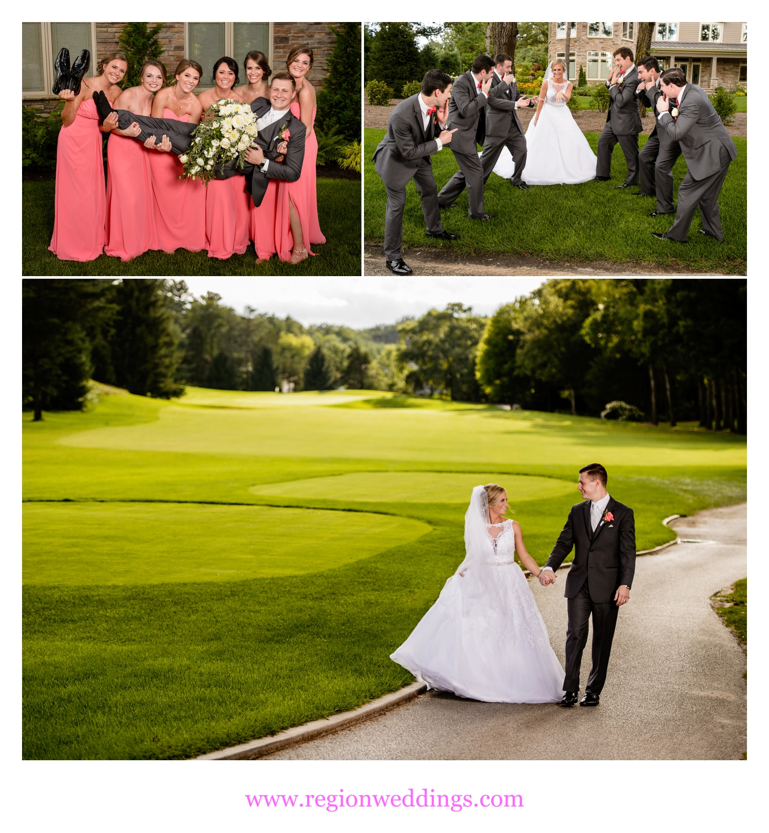 Wedding photo fun at Sandy Pines Golf Course.