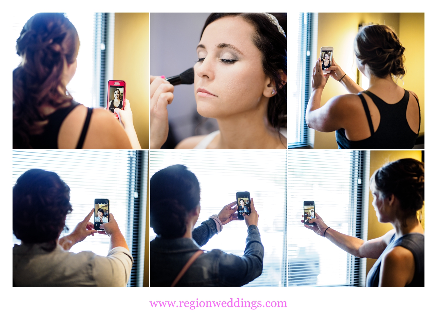 Wedding day selfies as the bride gets make up done at Vanis Salon in Valparaiso.