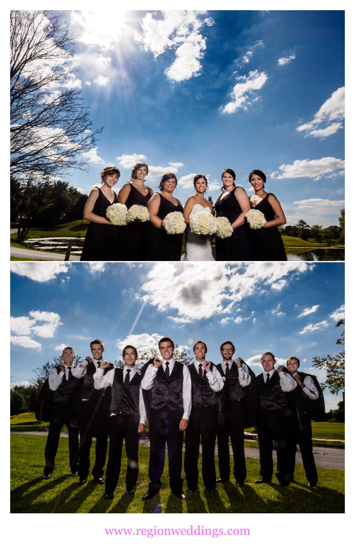 Wedding party photos at White Hawk Country Club in Crown Point, Indiana.