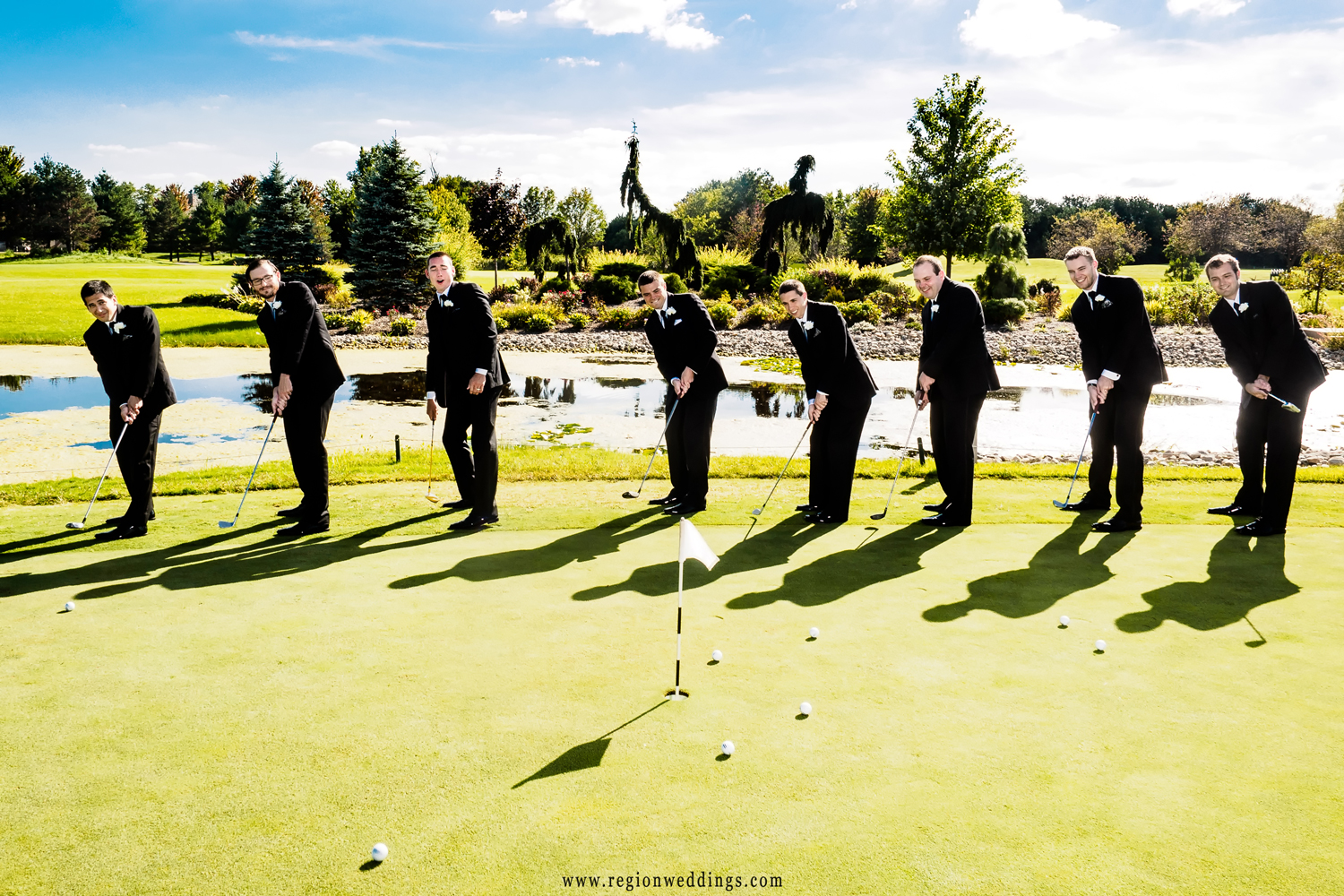 The groomsmen hit the green at White Hawk golf course.