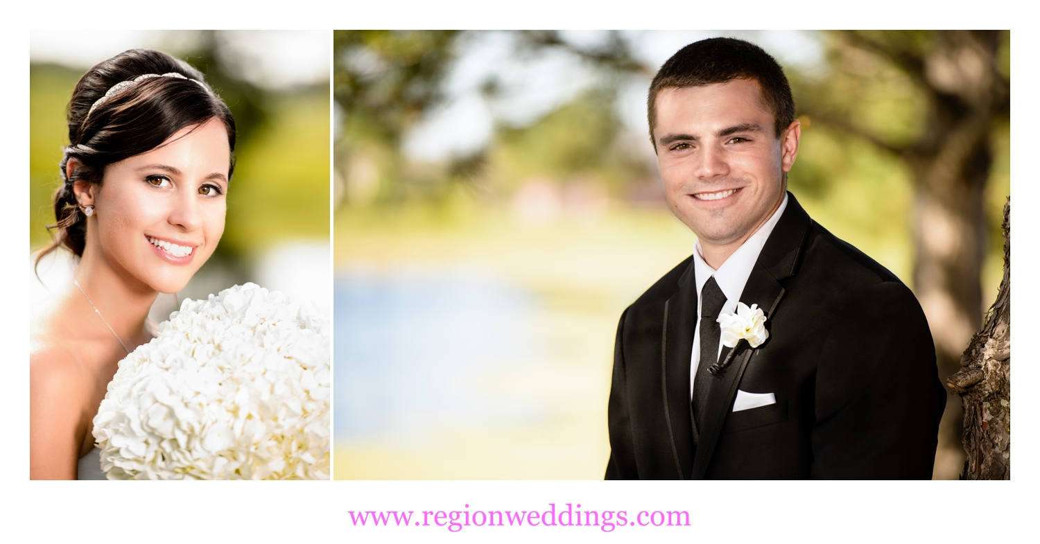 Portraits of the bride and groom in separate locations before their outdoor wedding ceremony.