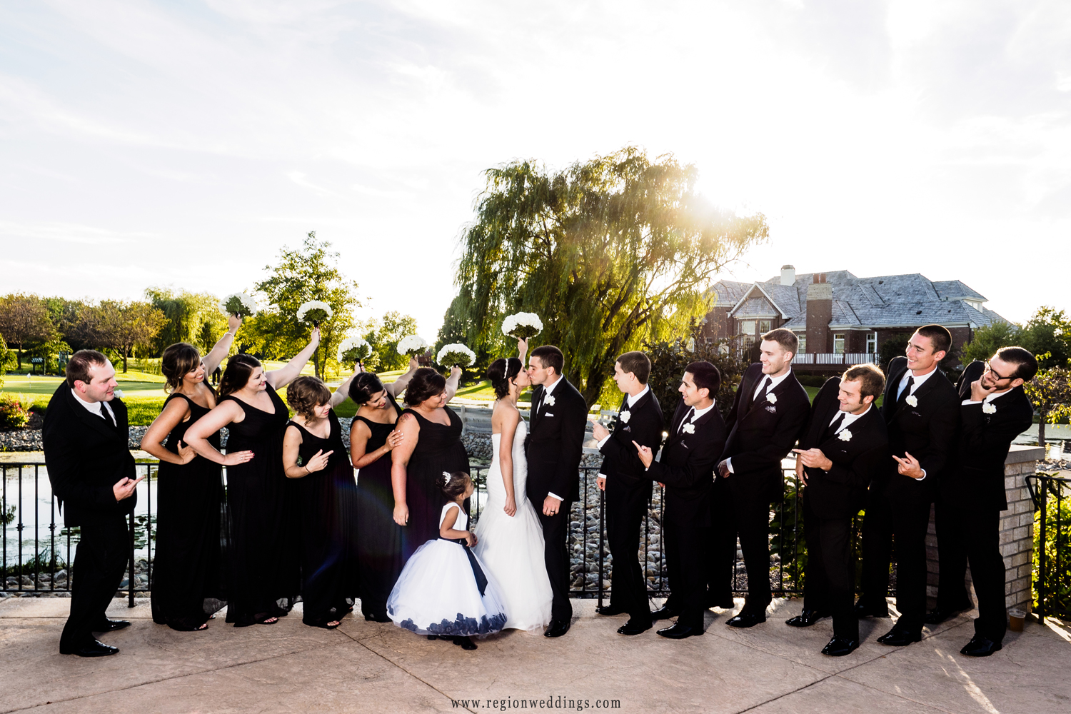 Wedding party on the terrace of White Hawk Country Club.