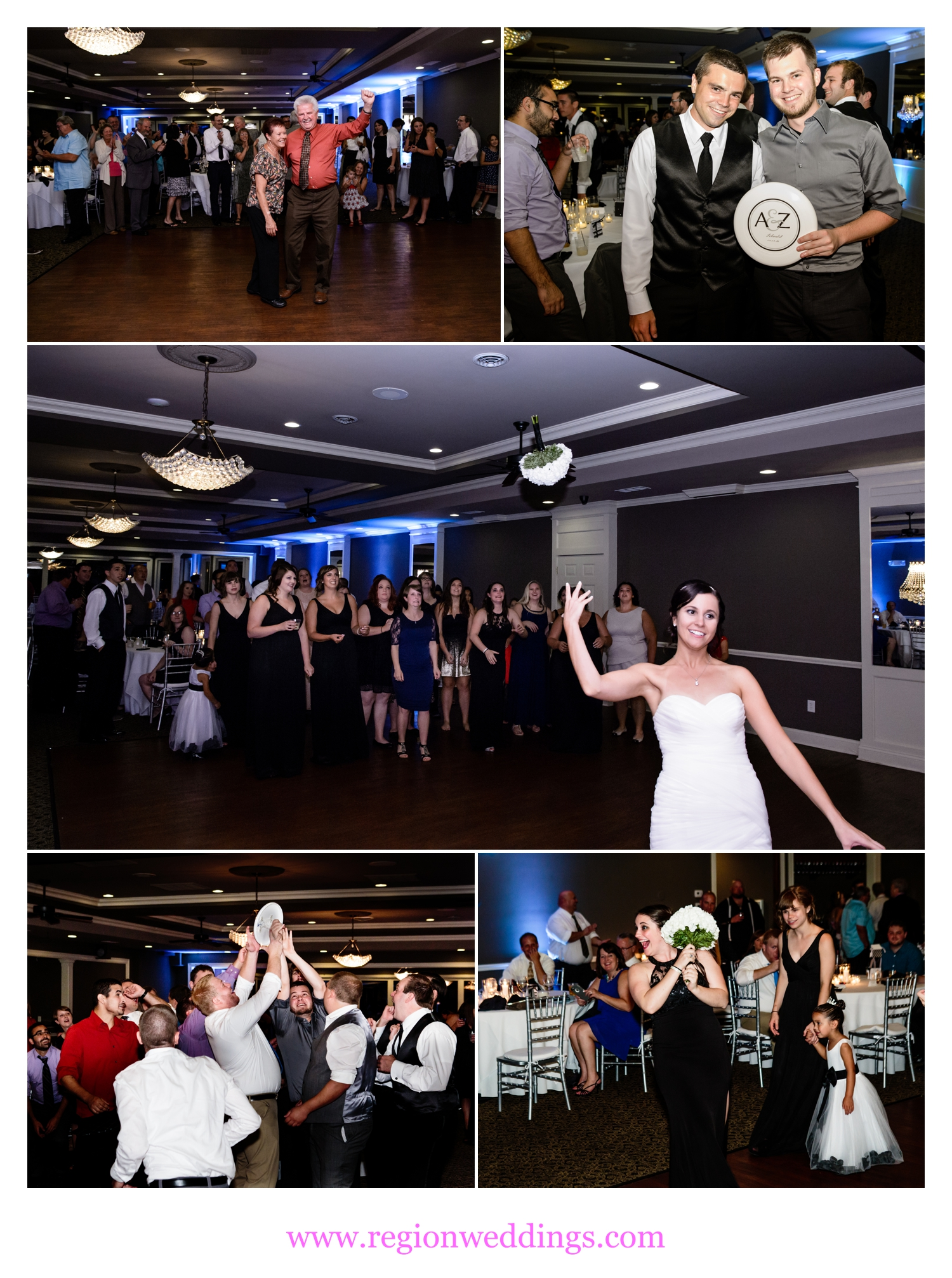 Bouquet and garter toss and the longest married couple dance.