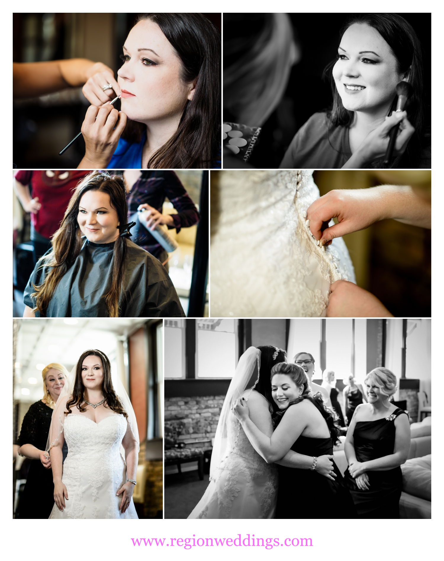Bridal prep at The Allure in Laporte, Indiana.