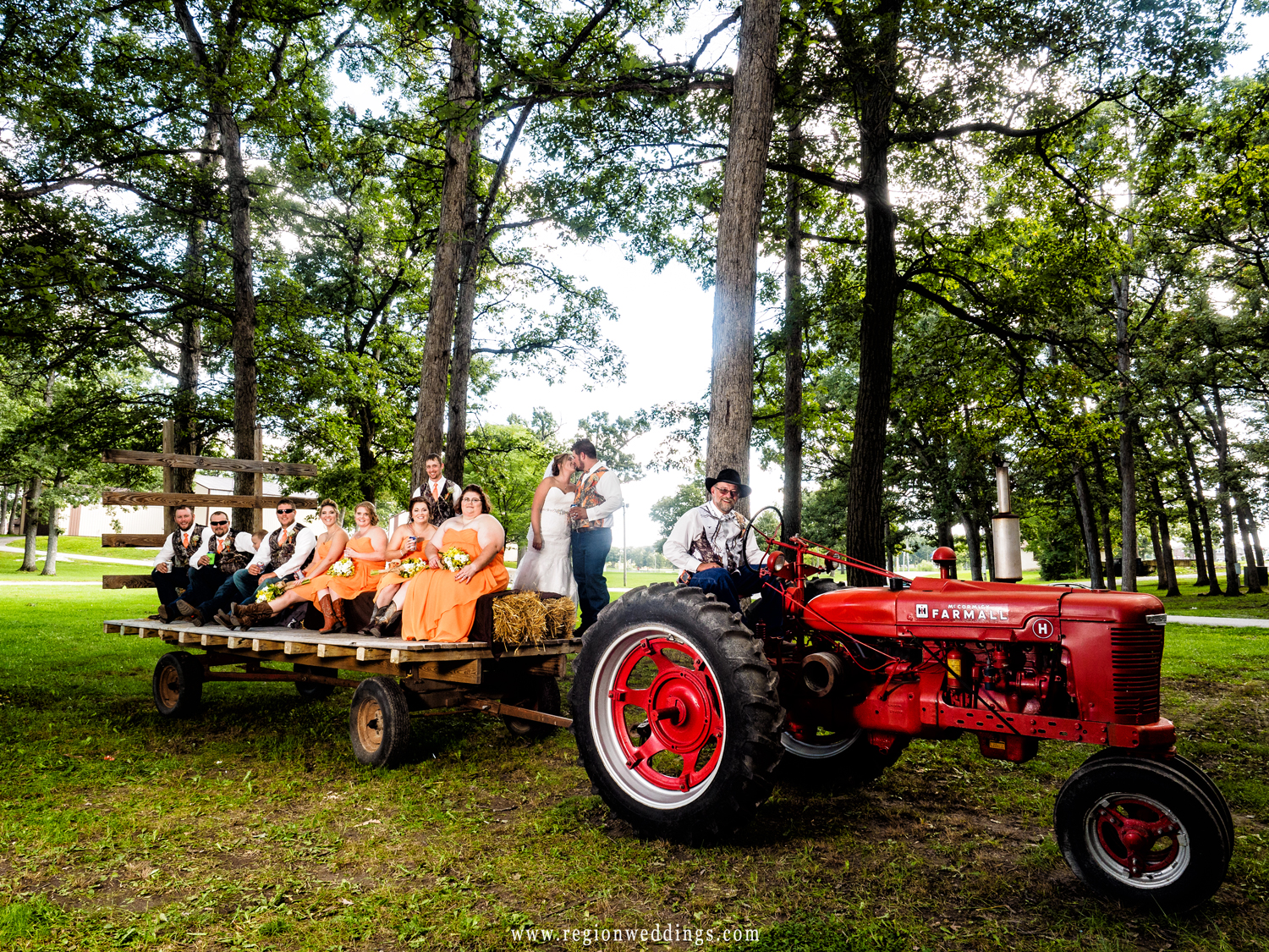 Wedding party hayride at the Lake County Fairgrounds.