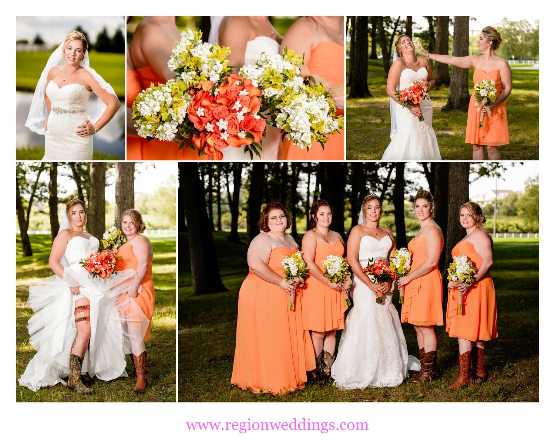 Bridesmaids wedding photos at Lake County Fairgrounds.
