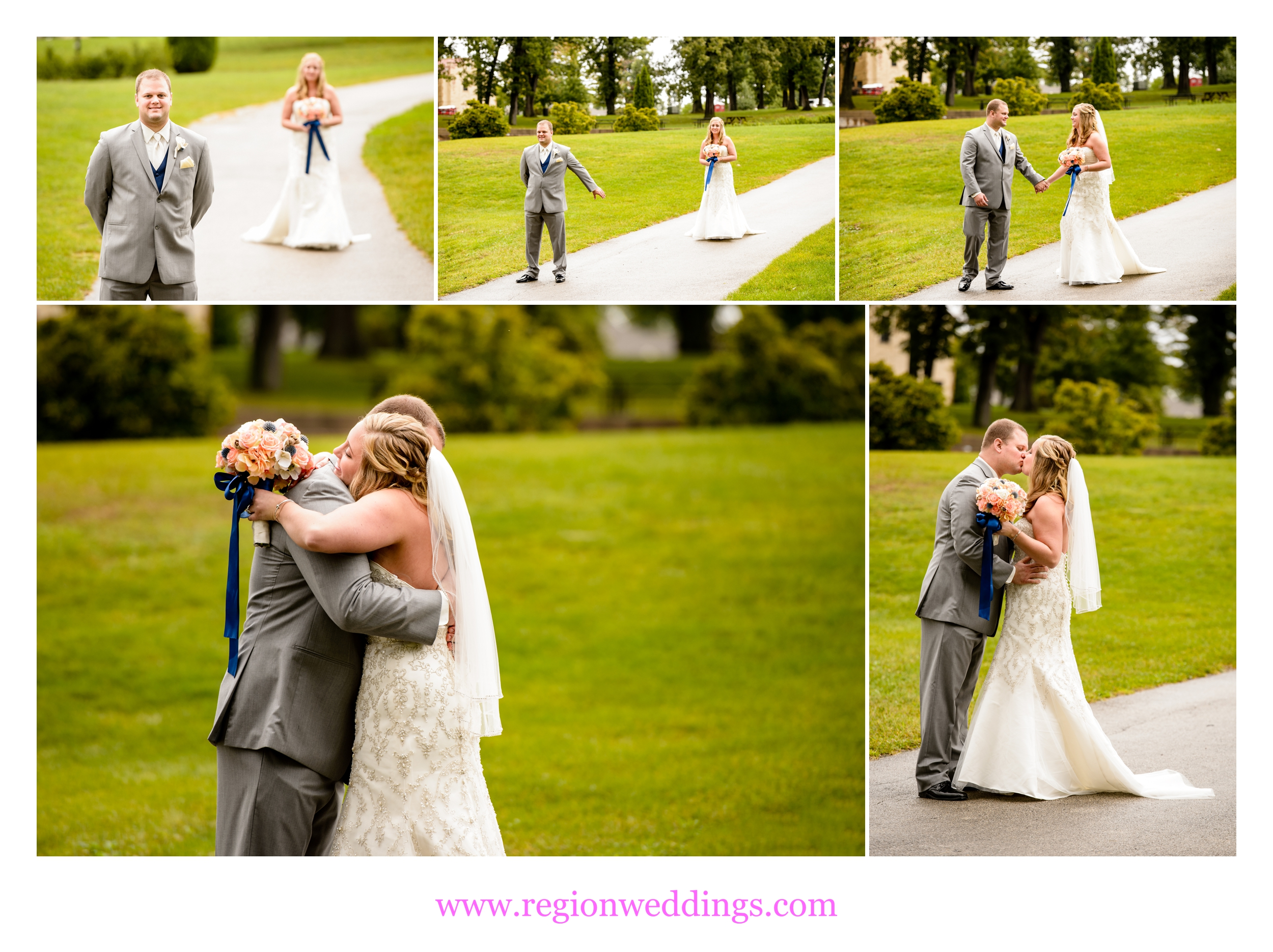 First look for the bride and groom at Lake Hills Clubhouse in St. John, Indiana.