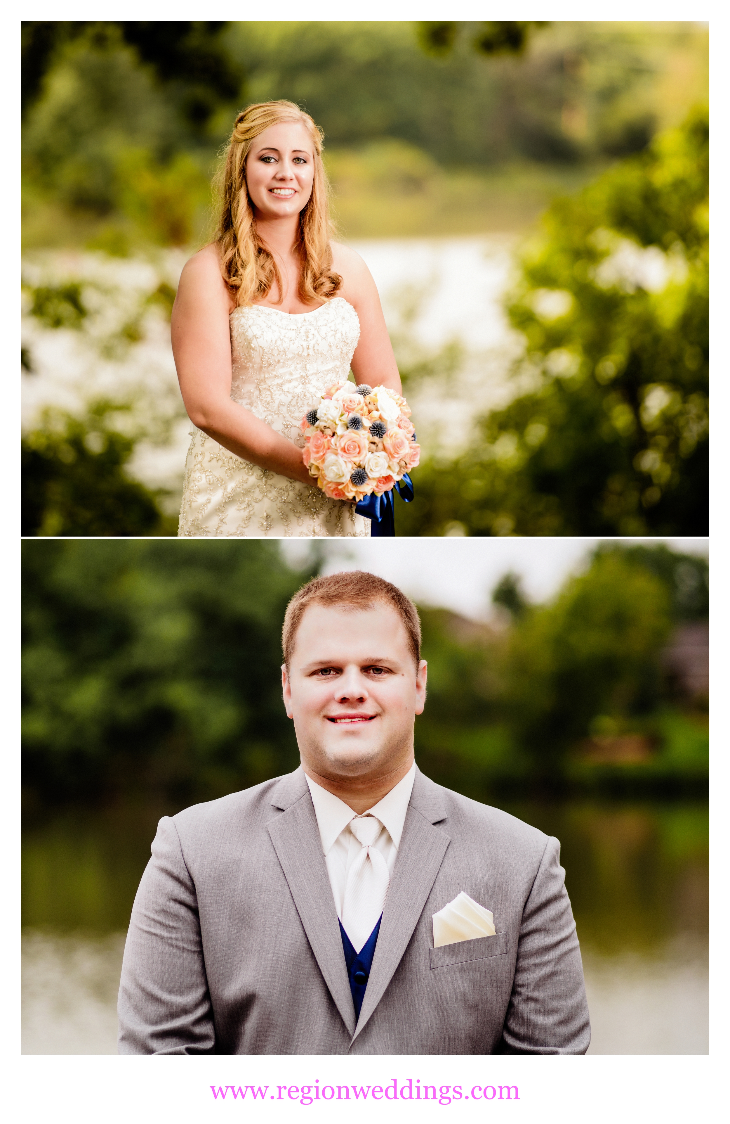 Bride and groom portraits on wedding day.