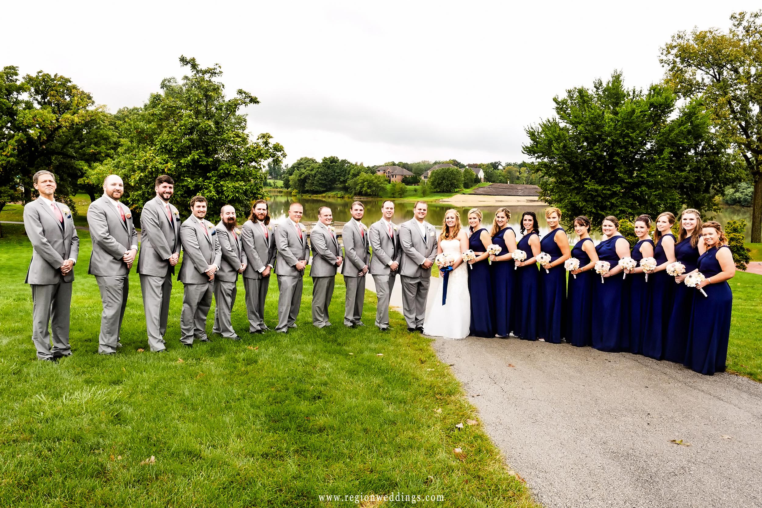 Wedding party at the lake at Lake Hills in St. John, Indiana.
