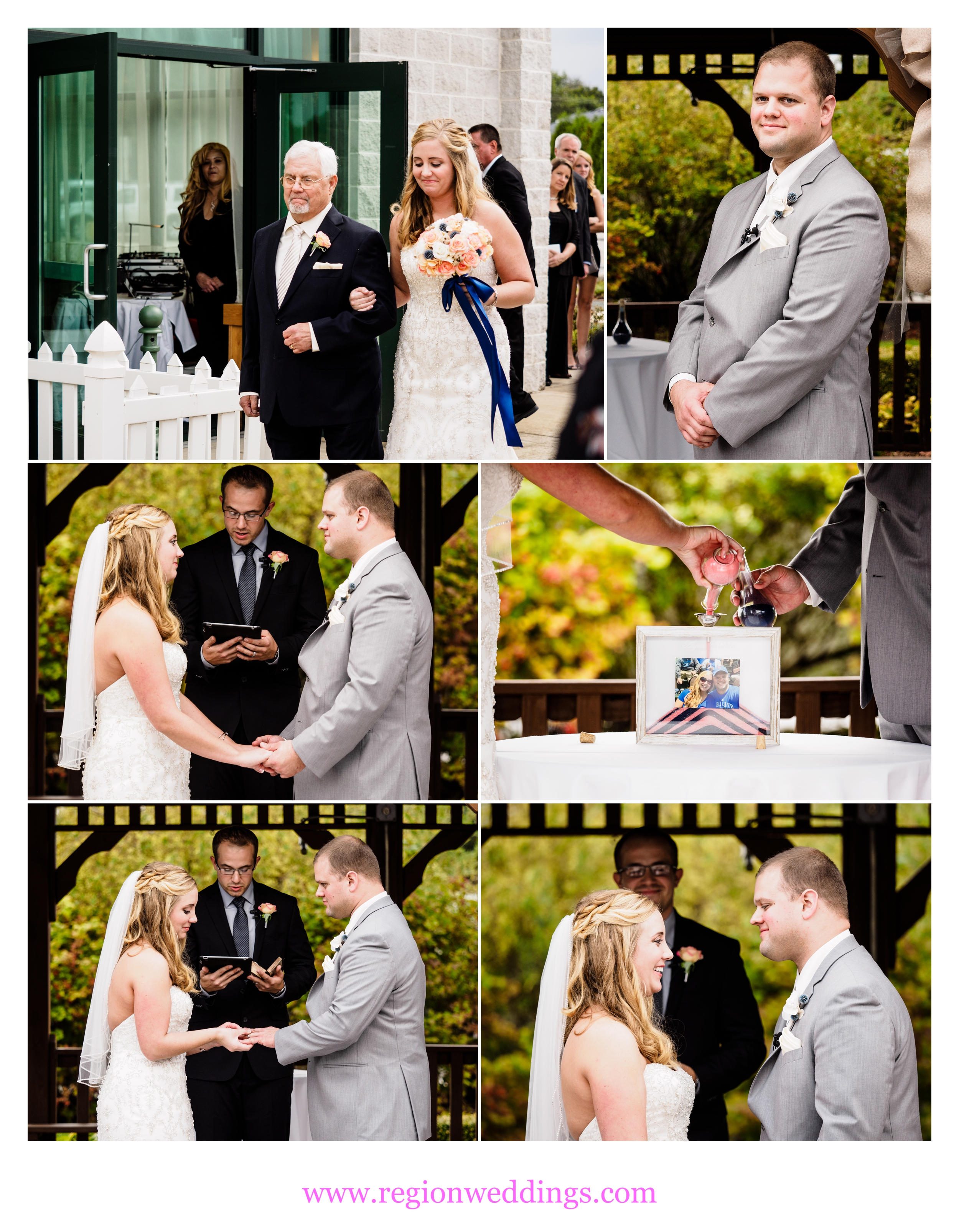 An outdoor October wedding ceremony at The Patrician.