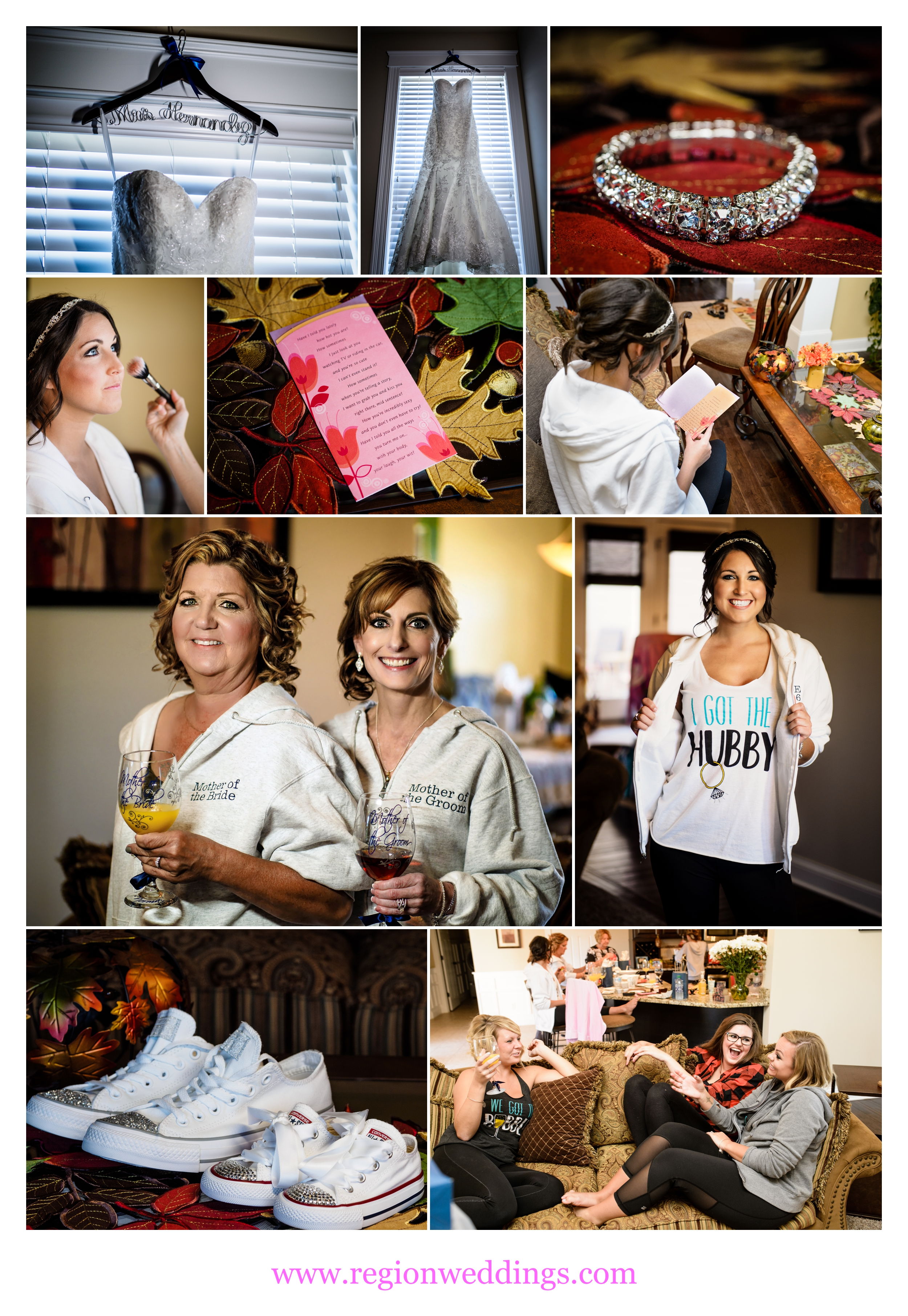 Bridal prep for an outdoor Fall wedding at Avalon Manor.