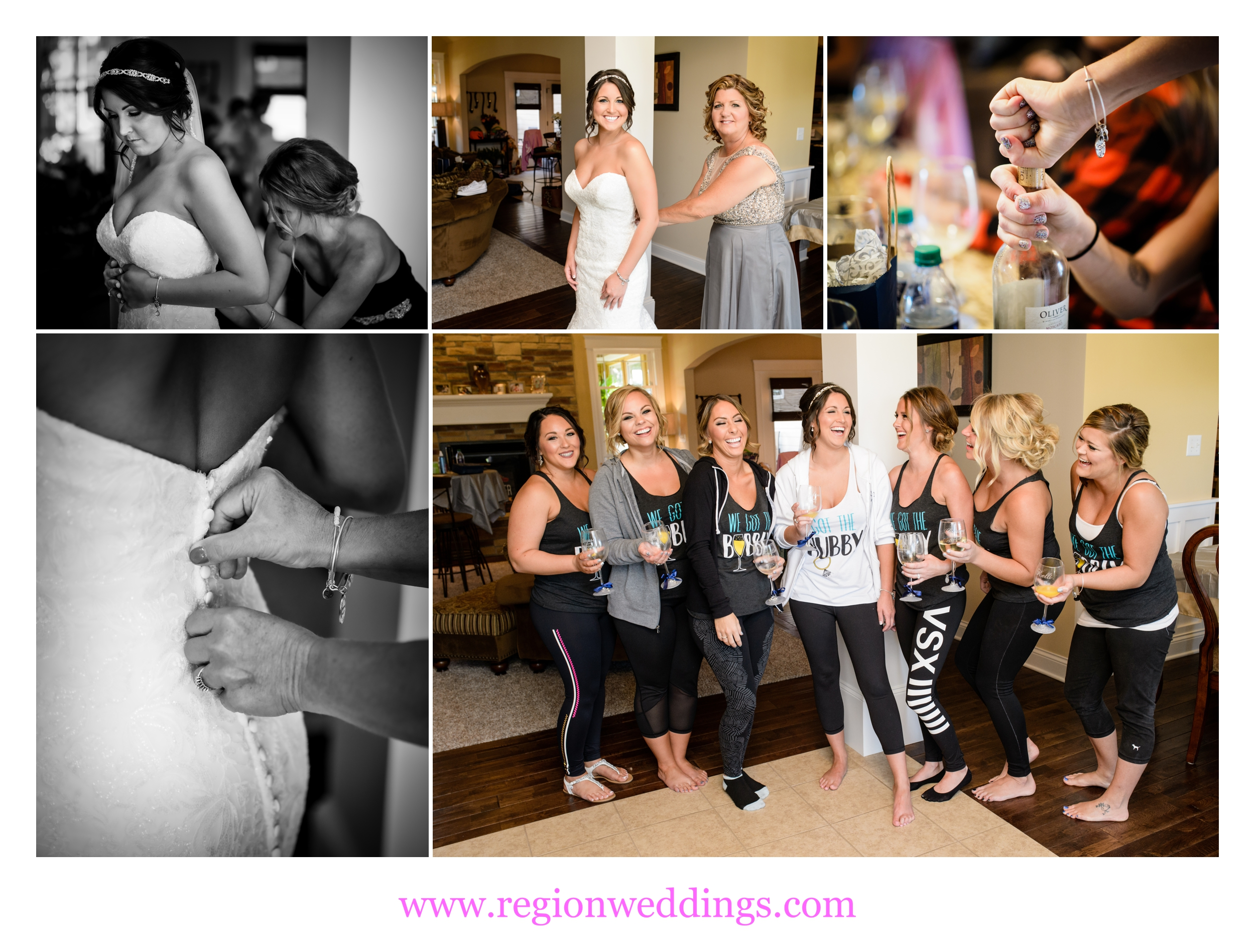 Laughter and spirits during bridal prep.