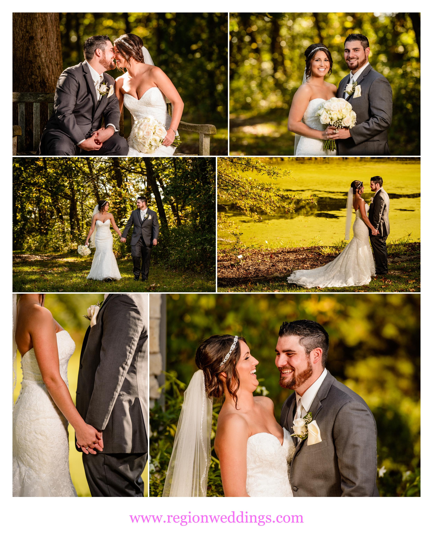 Romantic wedding photos at Taltree Arboretum nature garden.