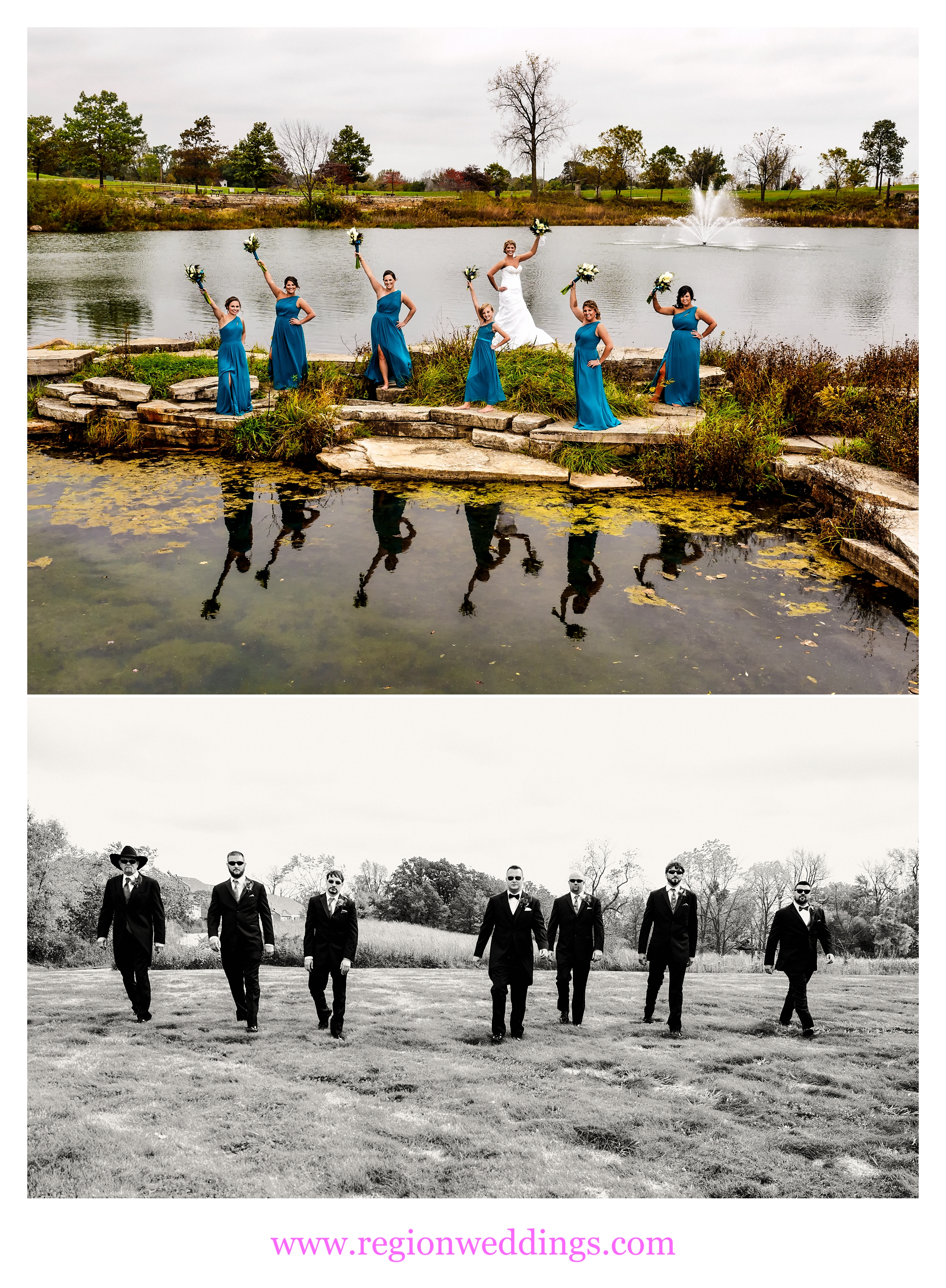 Bridesmaids and groomsmen at Coffee Creek Nature Preserve in Chesterton, Indiana.